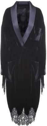Alexander Wang Stud-embellished Leather And Velvet Coat