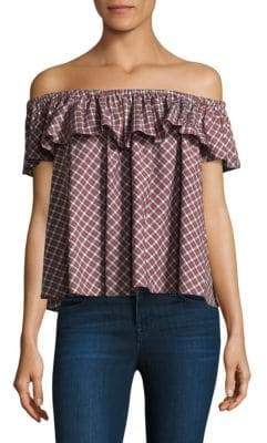 Petersyn Roxie Open Ruffle Cotton Top