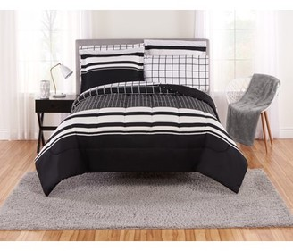 Mainstays Even Plaid Black and White Bed in a Bag Bedding Set, Multiple Sizes
