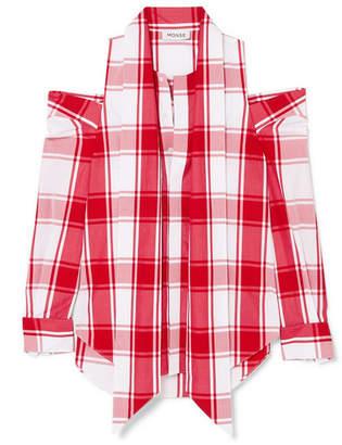 Monse Embellished Cold-shoulder Checked Cotton-poplin Shirt