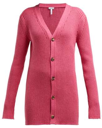 Loewe Long Line Ribbed Knit Wool Cardigan - Womens - Pink