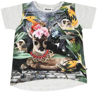 Molo Animal Print Cotton Jersey T-Shirt