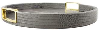 AERIN Small Croc Embossed Round Tray