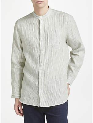 John Lewis & Partners Linen Stripe Grandad Shirt