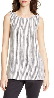 Eileen Fisher Stripe High/Low Silk Shell