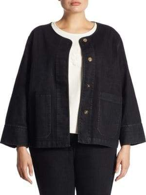 Joan Vass Plus Snap Front Denim Jacket