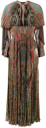 Etro printed pleated long sleeve gown