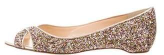 Christian Louboutin Glitter Peep-Toe Flats