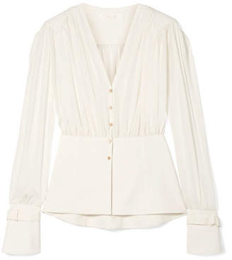 Chloé Paneled Silk-chiffon And Cady Blouse - Ivory