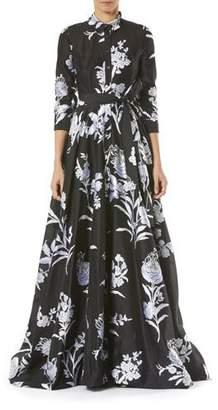 Carolina Herrera Floral-Print Taffeta Trench Gown