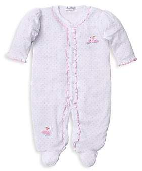 Kissy Kissy Baby Girl's Swan Embroidered Footed Onesie
