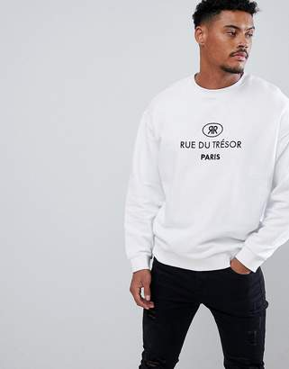 Asos Design DESIGN sweatshirt with embroidered french text in white