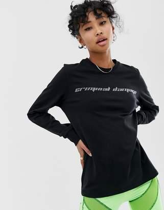 Criminal Damage oversized long sleeve t-shirt with diamante logo