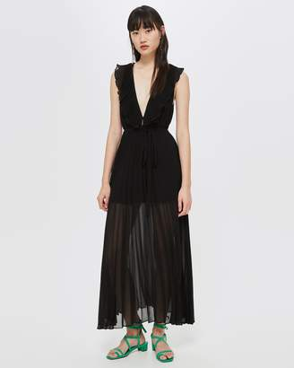 Topshop Plunge Ruffle Pleated Dress