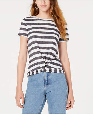 Bar III Striped Twist-Hem Top