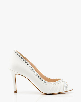 Le Château Jewel Embellished Satin Peep Toe Pump