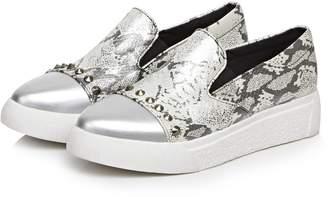 DolphinGirl Women Sliver Fashion Glitter Slip-On Loafer Shoes Vacation Platform Loafer Shiny Bling Comfy CY00454