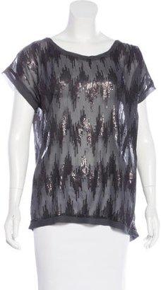 Brochu Walker Silk Sequin-Embellished Top w/ Tags $85 thestylecure.com