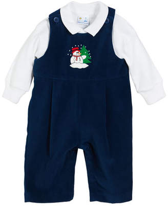 Florence Eiseman Snowman Twill Velvet Overalls w/ Solid Long-Sleeve Polo Shirt, Size 3-24 Months