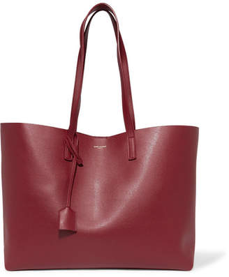Saint Laurent - Shopping Large Textured-leather Tote - Burgundy $995 thestylecure.com