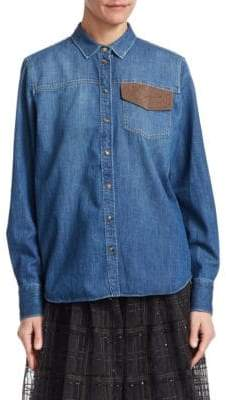 Brunello Cucinelli Cotton Denim Blouse