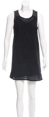 Rebecca Minkoff Leather-Trimmed Eyelet Dress