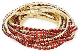Design Lab Silvertone 8-Row Rhinestone Stretch Bracelet