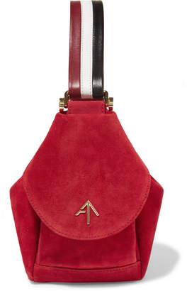Atelier MANU Fernweh Micro Leather-trimmed Suede Wristlet Bag - Red
