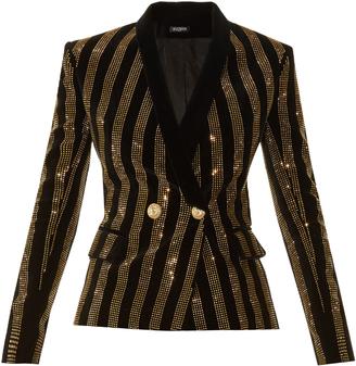 Balmain Striped embellished velvet blazer