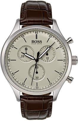 BOSS Hugo Men's Chronograph Companion Brown Leather Strap Watch Strap 42mm