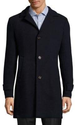 Eleventy Single-Breasted Wool & Cashmere Blend Coat