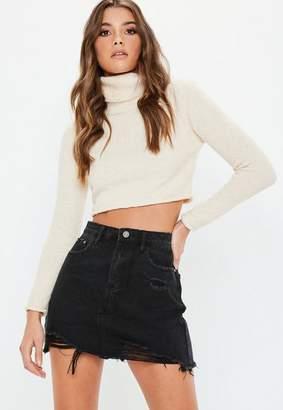 Missguided Black Ripped A Line Denim Micro Mini Skirt