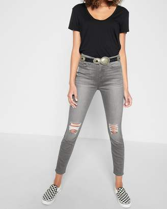 7 For All Mankind b(air) The Highwaist Ankle Skinny with Knee Holes in Chrysler Grey
