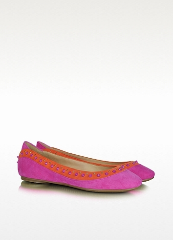 Sigerson Morrison Belle - Fuchsia Studded Alexis Suede Ballerina