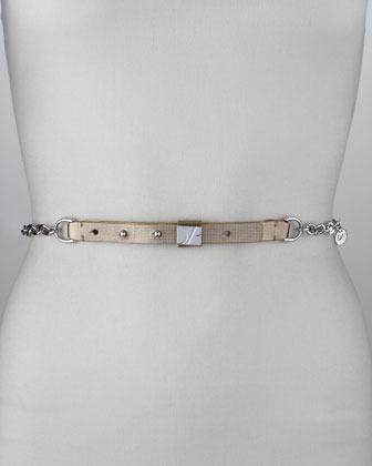 Diane von Furstenberg Chain and Metallic Plaque Belt