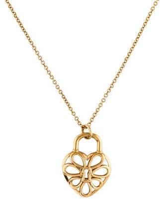 Tiffany & Co. 18K Filigree Heart Lock Pendant Necklace