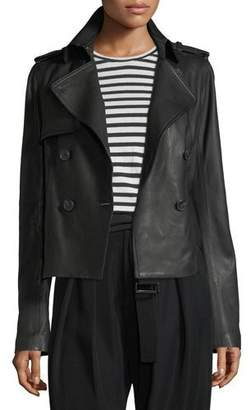 Vince Cropped Lamb Leather Trench Coat