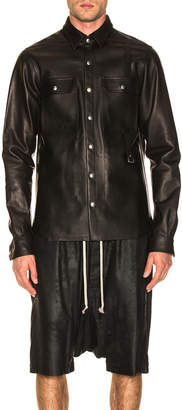 Rick Owens Leather Outershirt in Black   FWRD