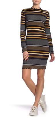 Lush Striped Mock Neck Dress