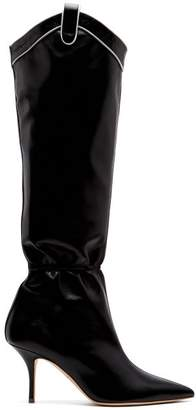 Malone Souliers Daisy Ruched Western Leather Boots - Womens - Black
