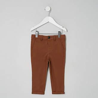 River Island Mini boys brown slim chino pants