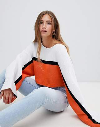 PrettyLittleThing Striped Wide Sleeve Cropped Sweater