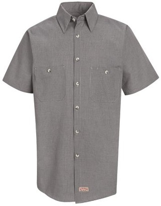 Red Kap Men's Short Sleeve Micro-Check Uniform Shirt