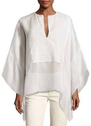 Ralph Lauren Collection Belinda Split-Neck Caftan Top, Ivory $1,390 thestylecure.com
