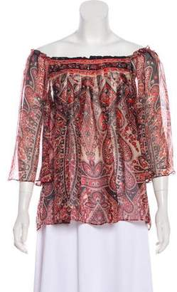 Milly Paisley Print Silk Blouse