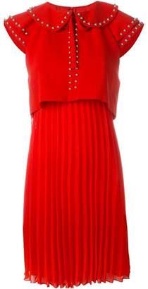Giamba studded Peter Pan collar flared dress