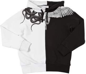 Marcelo Burlon County of Milan Two Tone Wing Print Cotton Sweatshirt