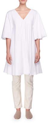 The Row Lianne V-Neck Trapeze Poplin Short Dress