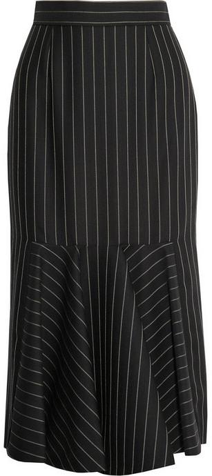 Stella McCartney Flared pinstriped wool-blend midi skirt