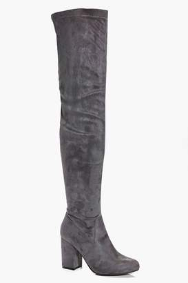 boohoo Eloise Block Heel Thigh High Boots